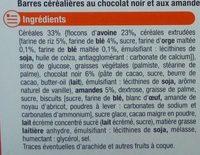 Barres Chocolat Amande aux 4 céréales - Ingrediënten - fr