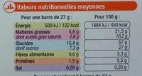 Barres Chocolat Amande aux 4 céréales - Voedingswaarden - fr