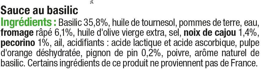 Sauce pesto - Ingrédients - fr
