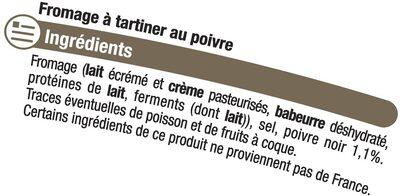 Fromage au poivre au lait pasteurisé 24%MG - Ingrédients