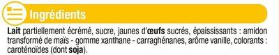 Crème anglaise saveur vanille UHT - Ingrédients - fr