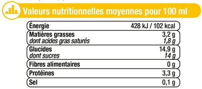 Crème anglaise saveur vanille UHT - Informations nutritionnelles - fr