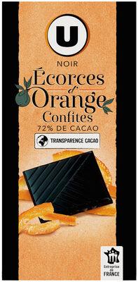 Tablette de chocolat noir dégustation 72% d'écorces d'orange - Produit