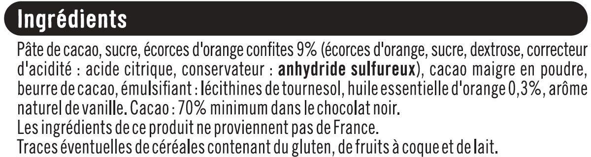 Tablette de chocolat noir dégustation 72% d'écorces d'orange - Ingrédients - fr