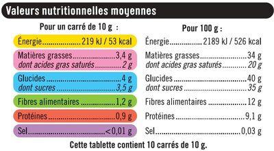 Tablette de chocolat noir dégustation 72% d'écorces d'orange - Informations nutritionnelles - fr
