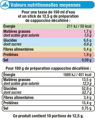 Cappuccino décaféiné - Nutrition facts