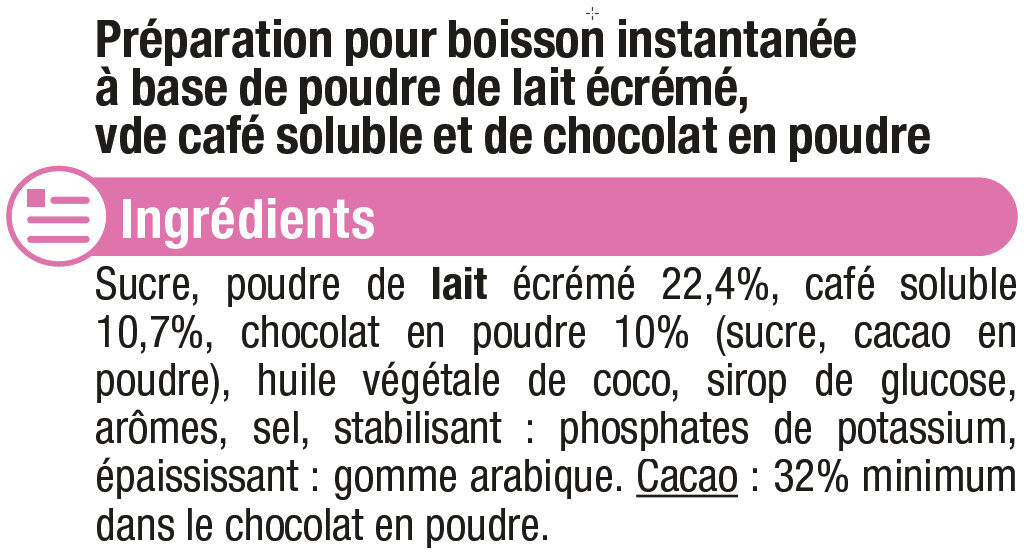 Cappuccino saveur chocolat - Ingrédients - fr