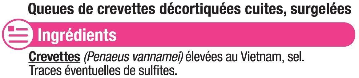 Queues de crevettes cuites décortiquées - Ingrédients - fr
