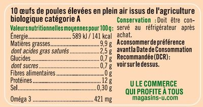 10 Oeufs de plein air calibre mixte - Nutrition facts