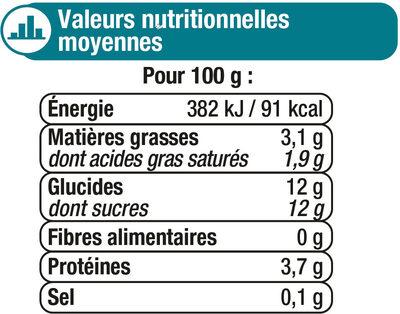 Lait fermenté sucré au bifidus saveur vanille - Informations nutritionnelles - fr