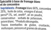Tzatziki fromage blanc et comcombre - Ingrediënten - fr