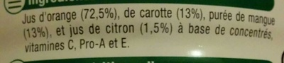 Orange Carotte Mangue - Ingredients