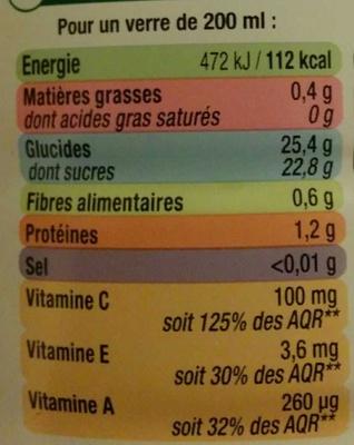 Orange Carotte Mangue - Nutrition facts