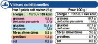 Palets dorés noix de coco - Informations nutritionnelles - fr