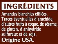 Amande effilée - Ingredienti - fr