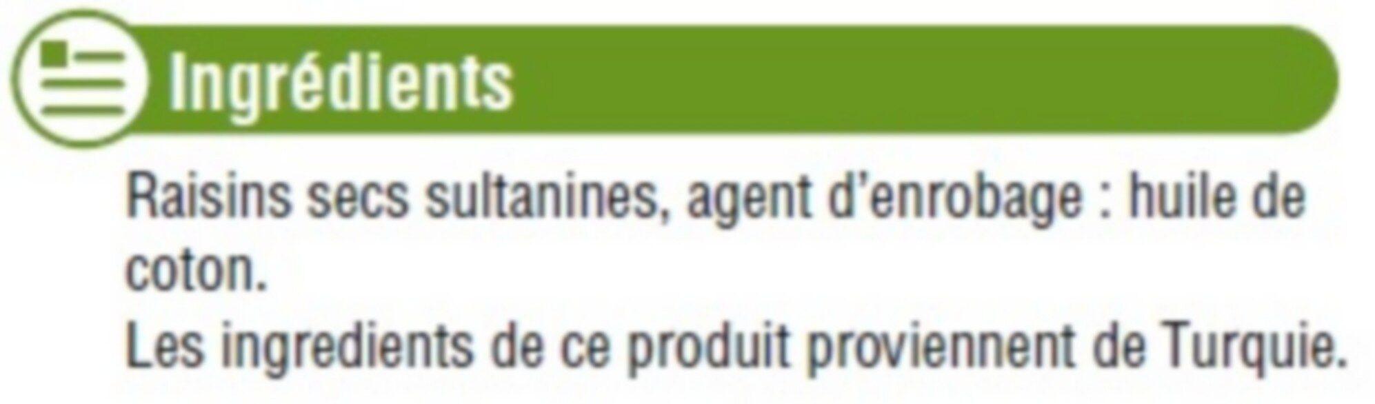 Raisin sec Sultanine, calibre 235/265 - Ingrédients - fr