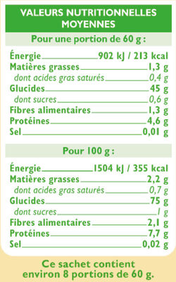 Riz long semi-complet étuvé 10 minutes - Informations nutritionnelles