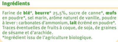 Galettes pur beurre bio - Ingrédients - fr