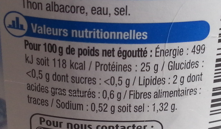 Thon albacore au naturel - Nutrition facts - fr