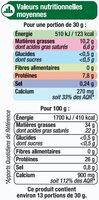 Comté AOP au lait cru 34% de MG - Nutrition facts
