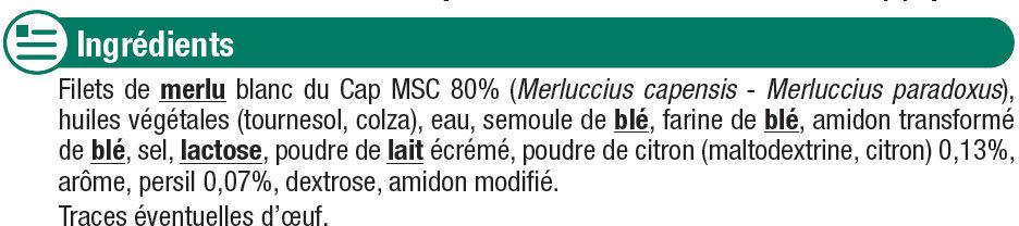 Filets de merlu blanc meunière - Ingrédients