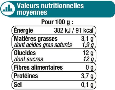 Lait fermenté au bifidus sucré saveur citron - Informations nutritionnelles - fr
