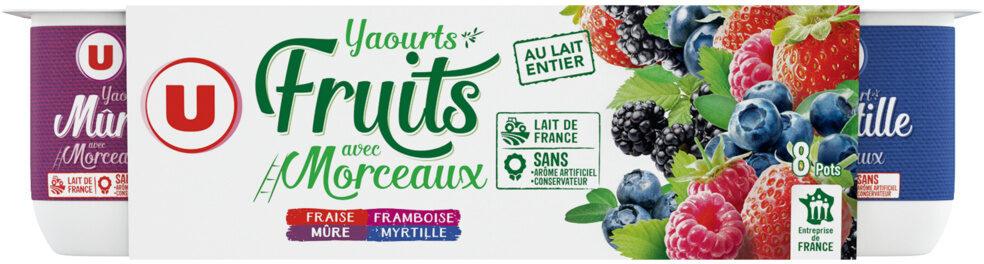 Yaourts au lait entier sucrés aux fruits rouges cerise, fraise, framboise et mûre - Product - fr