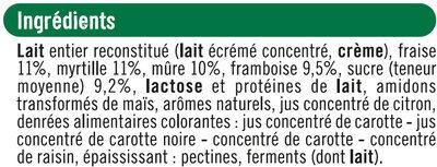 Yaourts au lait entier sucrés aux fruits rouges - Ingredients