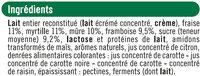 Yaourts au lait entier sucrés aux fruits rouges cerise, fraise, framboise et mûre - Ingredients - fr