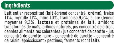 Yaourts au lait entier sucrés aux fruits rouges cerise, fraise, framboise et mûre - Ingrediënten - fr