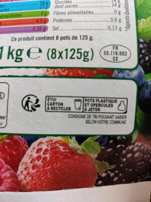 Yaourts au lait entier sucrés aux fruits rouges cerise, fraise, framboise et mûre - Instruction de recyclage et/ou informations d'emballage - fr