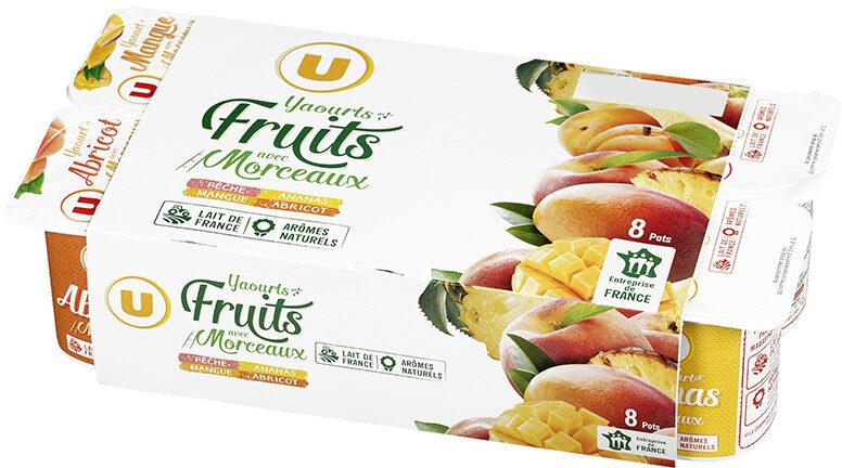 Yaourt au lait entier sucré fruits jaunes poires abricots ananas pêche - Produit