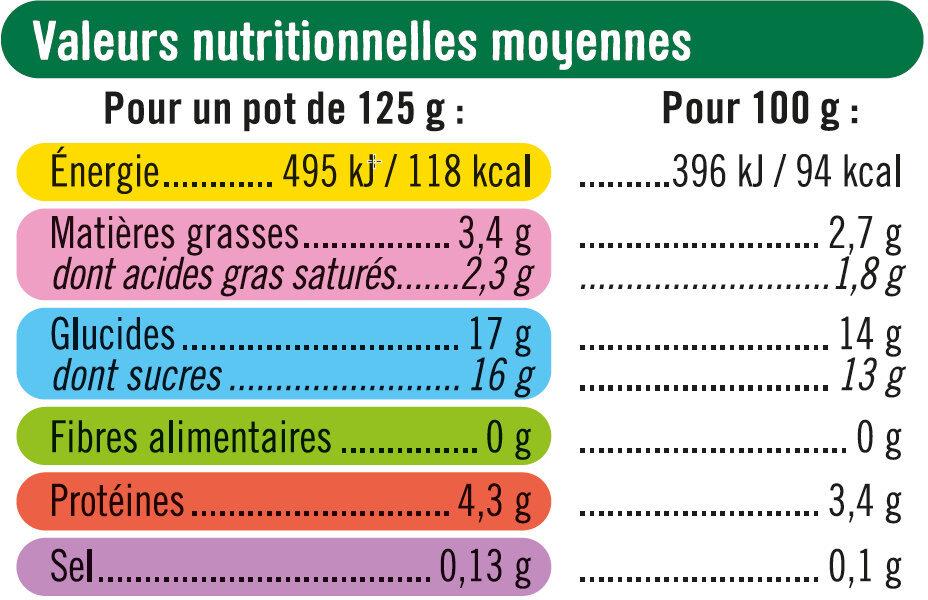 Yaourt au lait entier sucré fruits jaunes poires abricots ananas pêche - Informations nutritionnelles