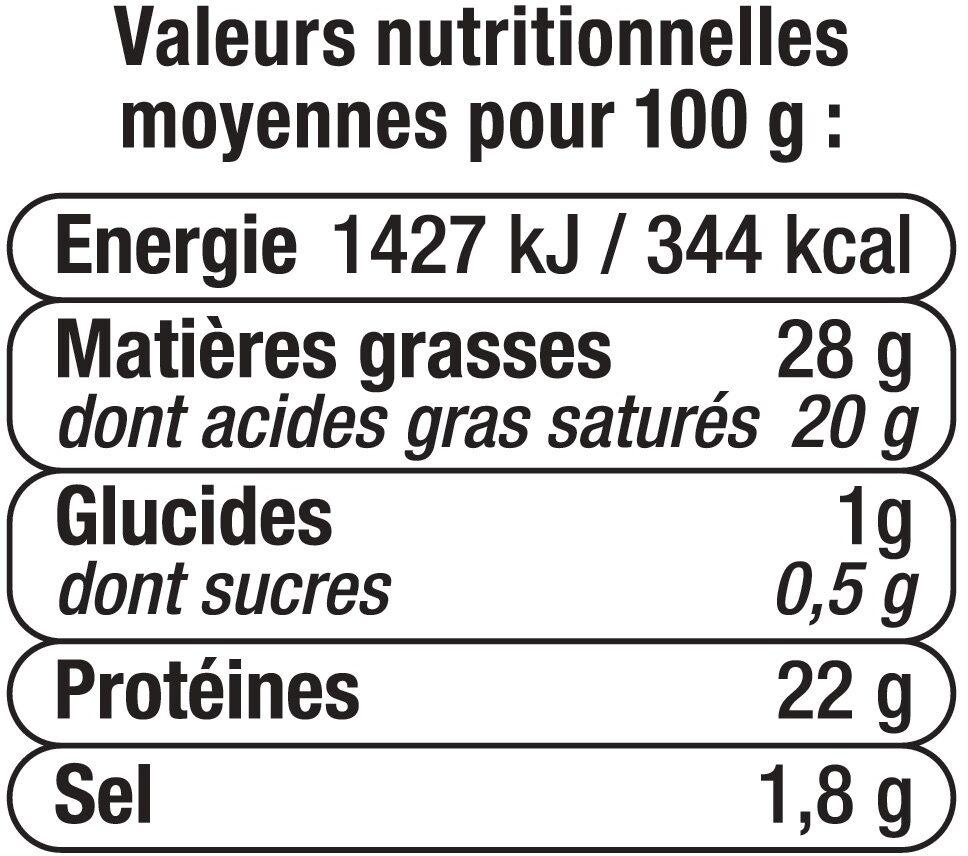 Tomme des Pyrénées lait pasteurisé 28% de matière grasse - Informations nutritionnelles - fr