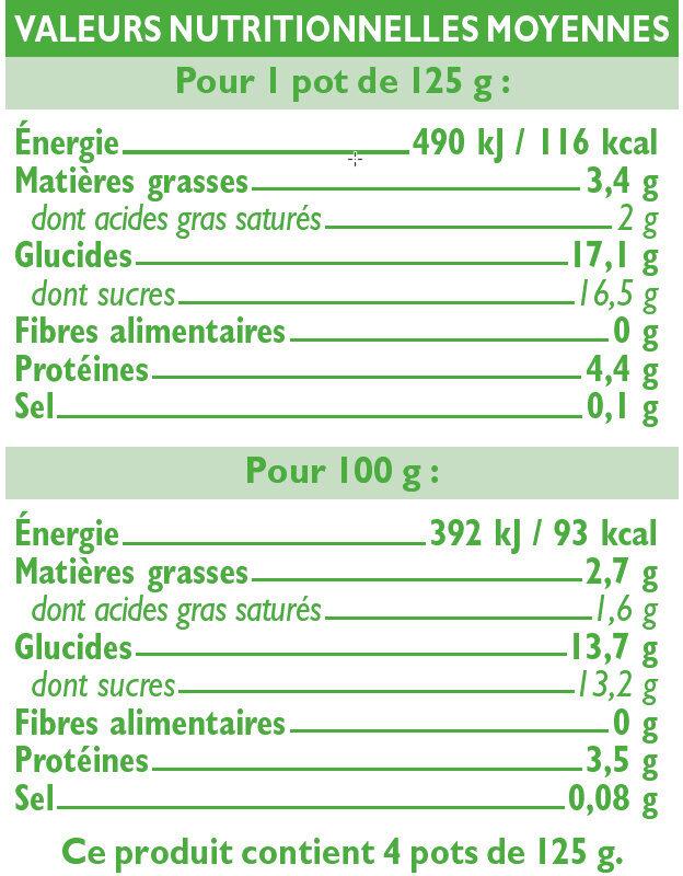 Yaourts bio brassés aux pêches - Informations nutritionnelles