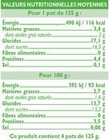 Yaourts bio brassés aux pêches - Informations nutritionnelles - fr