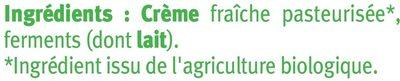 Crème fraîche épaisse 30%MG - Ingrediënten