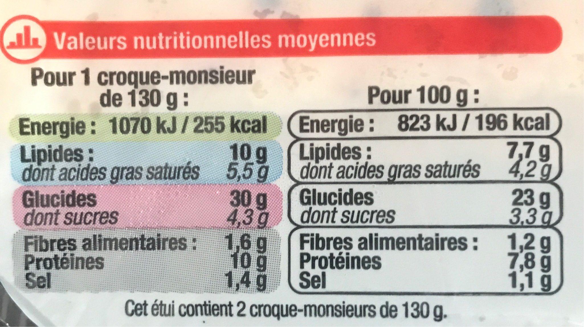 2 Croque-monsieur Gratinés, Poids Total 260 Grammes, Marque U - Nutrition facts