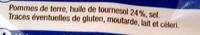 Chips légères Nature, - 30% MG - Ingrédients - fr