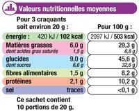Craquants aux céréales - Nutrition facts - fr