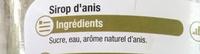 Sirop d'Anis - Ingrédients