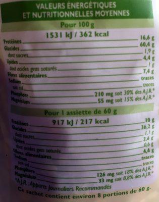 Mélange de riz et légumes secs - Voedingswaarden - fr