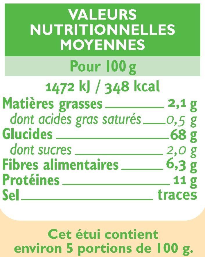 Couscous semi-complet - Informations nutritionnelles - fr