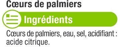 Coeurs de palmier entiers - Ingrédients