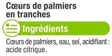 Coeurs de palmier en rondelles - Ingrediënten