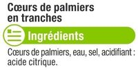 Coeurs de palmier en rondelles - Ingrédients - fr