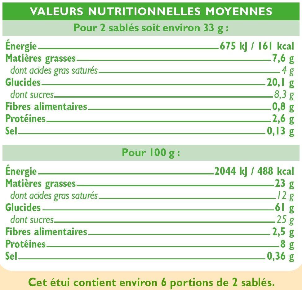 Sablés amandes citron - Informations nutritionnelles