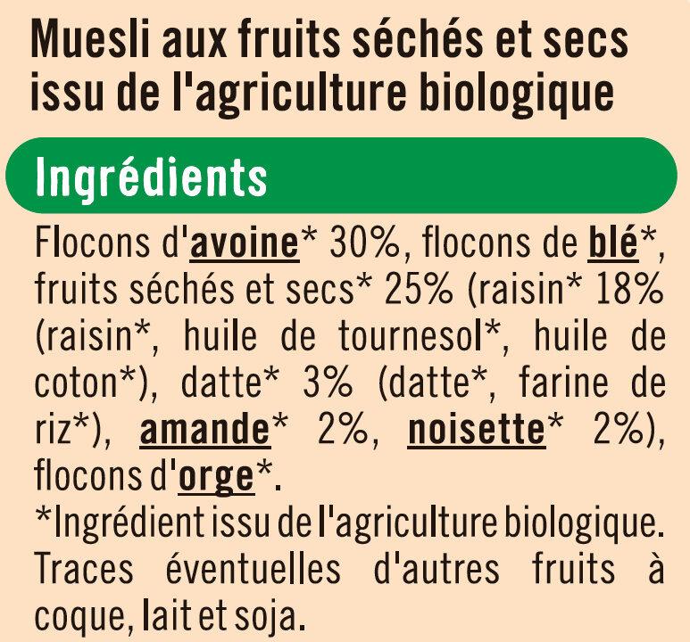Muesli floconneux 25% de fruits et noix - Ingrédients