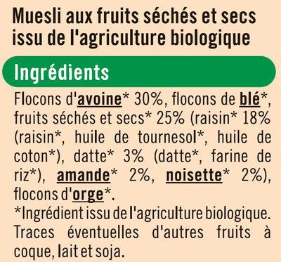 Muesli floconneux 25% de fruits et noix - Ingrediënten - fr