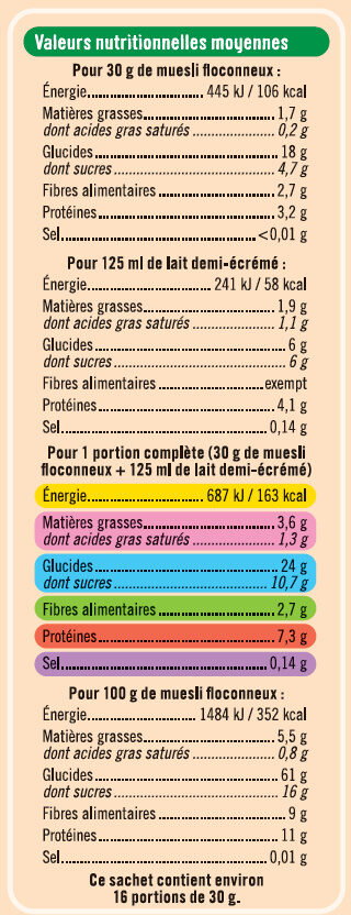Muesli floconneux 25% de fruits et noix - Voedingswaarden - fr